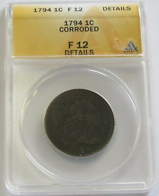 Scarce 1794 Flowing Hair Large Cent Anacs Fine 12