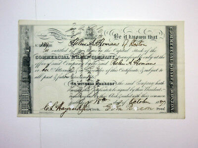 Commercial Wharf Co., 1887 Cancelled Stock.