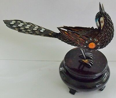 Wonderful Antique Chinese Spun Silver, Jeweled And Enamel Peacock Figure