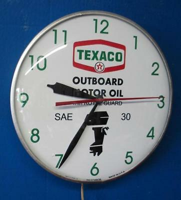 Vintage Pam Lighted TEXACO OUTBOARD MOTOR OIL Advertising Clock