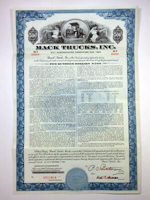 Mack Trucks, Inc., 1956 Specimen Bond