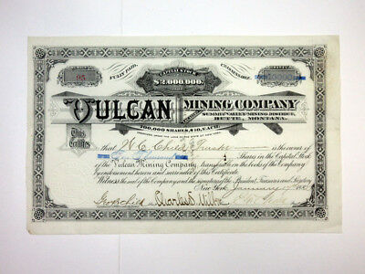 Vulcan Mining Co., 1882 Issued Stock Certificate