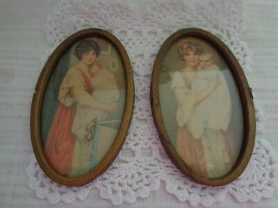 2 Vintage Metal Framed Mother With Baby  Pictures / Photos