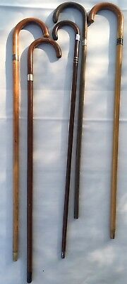Antique Sterling Silver Cane Walking Stick Lot Of 5