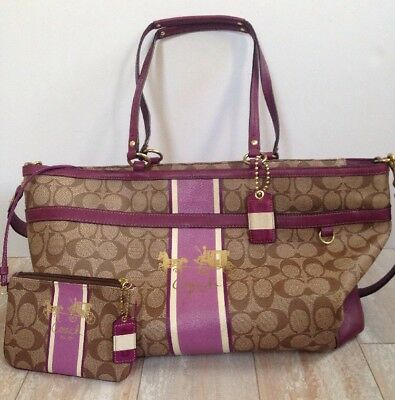 COACH Heritage Multifunction Diaper Bag Tote 12351 Brown & Purple Leather Trim