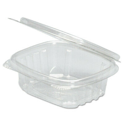 Genpak Clear Hinged Deli Container, 8oz, 5 3/8 X 4 1/2 X 1 1/2, 100/bag, 2 Bags/