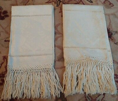 2 Antique Italian Fringed Damask Linen Bath Length Show Towels