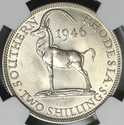 1946 NGC AU 58 Southern Rhodesia Silver 2 Shillings Key Date Coin (17022104C)