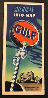 Vintage 1940's Gulf Oil Gas Station Michigan Info Road Map,Upper Peninsula,South