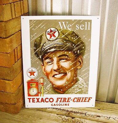 Texaco We Sell Fire Chief Gasoline Metal Tin Sign Vintage Rustic Garage Gas Pump