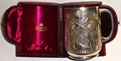 Superb 1881 Victorian WH London JAPANESE AESTHETIC Antique STERLING CUP w/ CASE!