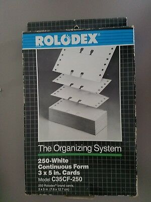 Vintage 250 Rolodex C35-CF Continuous Form Cards 3x5 Card File White New