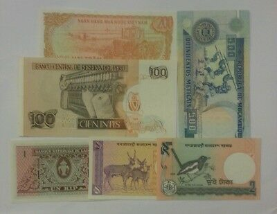 Lot Of 6 World Currency Paper Money All Unc Banknotes Peru Mozambique Asia