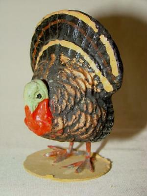 Vintage Composition Hand Painted THANKSGIVING TURKEY, Metal Feet, Germany