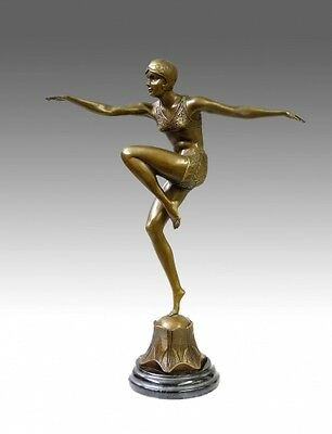 Top ART DECO Bronze - CON BRIO - in graziler Pose sign. Preiss