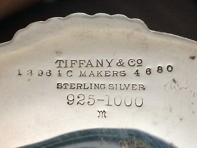 Tiffany & Co Sterling Silver Pedestal  Footed Candy Dish Compote Shell Pattern