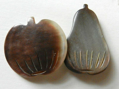 Antique Vintage Smoky Mother of Pearl Realistic Shaped Buttons Pear & Pumpkin