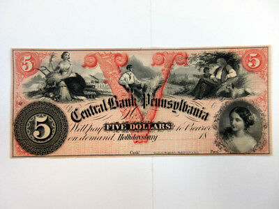 Hollidaysburg, PA Central Bank of Pennsylvania $5 Obsolete Banknote, AU/unc DW&C