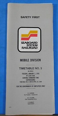 Seaboard System Railroad Employee Timetable #3 1985 Jan 1 Mobile Division