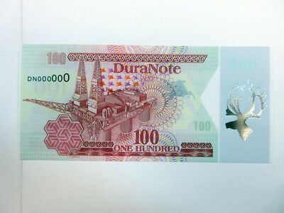 Duranote Polymer Advertising Test Note 1980-90's Oil Rig Silver Foil Elk Gem UNC