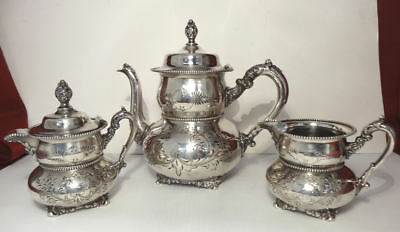 c1800's Victorian Era Victor Quadruple Plate Hand Chased Tea Set - EXCELLENT!