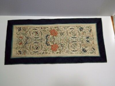 Antique Chinese Forbidden Stitch Embroidered Silk Textile Panel Sleeve