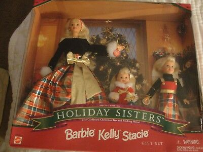 Barbie 1998 Holiday Sisters Special Edition Barbie, Kelly, Stacie Gift Set NEW
