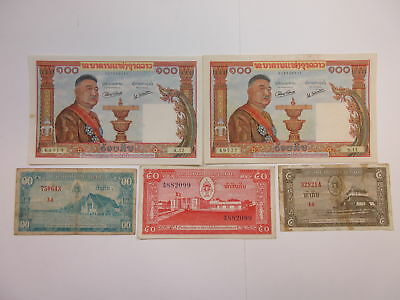 Laos 5-10-50-100 Kip 1957 P-2, P-3, P-5, P-6 (5 pcs) All F-VF Except P-6 AU-UNC
