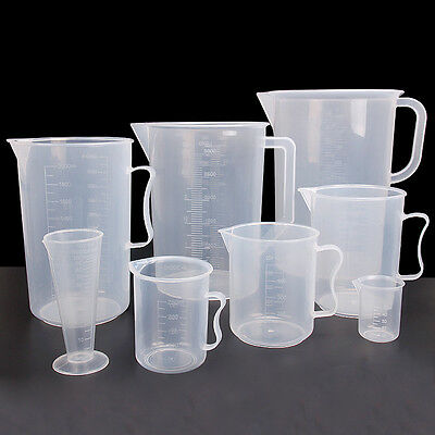 12 Size Plastic Measuring Jug Cup Graduated Surface Cooking Bakery Kitchen Lab