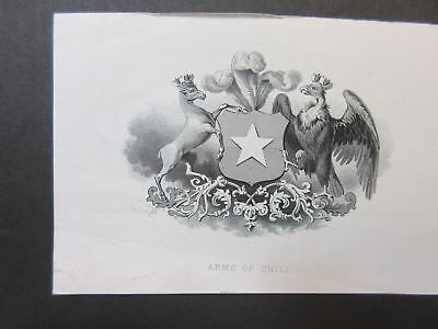 ABN Archives Proof Vignette, Arms of Chile, India paper ca.1870s