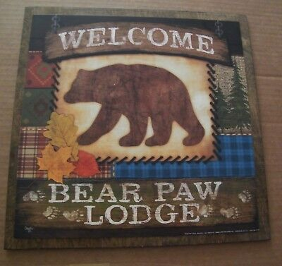 WELCOME BEAR PAW LODGE country rustic cabin lake wooden wall decor plaque sign
