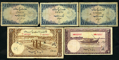State Bank of Pakistan 1-5-10 Rupees 1950s-1960s (5 pcs)