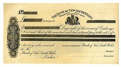 Australia c.1850-60s Bank of New South Wales NSW PROOF 2nd of Exchange XF