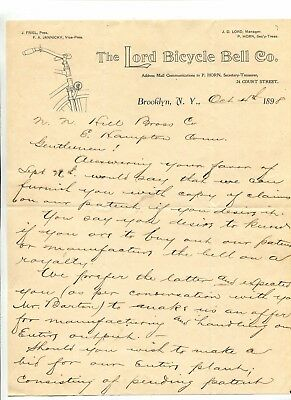 Vintage Illustrated Letterhead LORD BICYCLE BELL Brooklyn NY 1898