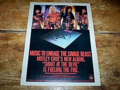 Motley Crue Rare Shout At The Devil / 1983 U.S. Promo Poster Ad Printed Once NM-