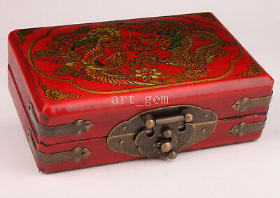 Box Red Leather Dragon Phoenix Decorated Jewelry Collectable