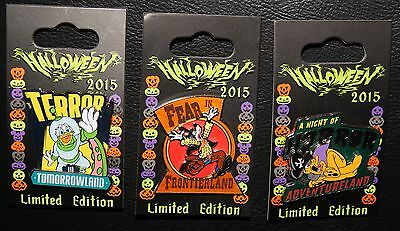 Disney 2015 Donald Goofy Pluto Halloween 3 LE Pin Set Frontier Tomorrow Land