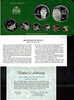 Guyana 8-Coin Proof Set 1980 Nice In Original Case 2 Silver Coins Great Wildlife