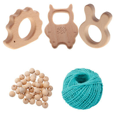 50pcs Organic Wood Beads Baby Teething Toys DIY Findings for Necklace Bangle