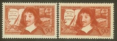 """FRANCE STAMP N° 341 / 342 """" DESCARTES """" TIMBRES NEUFS xx LUXE"""