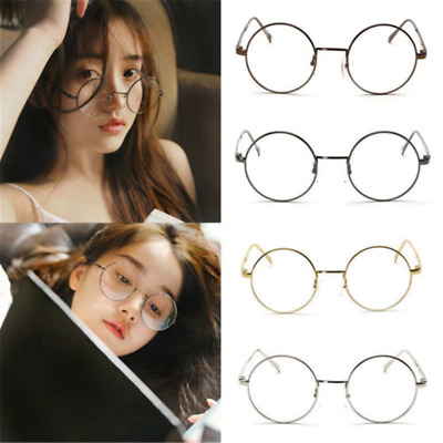 Retro Metal Frame Clear Round Flat Mirror Lens Glasses Spectacles Eyeglass Gift