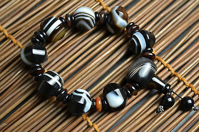 Collectible Natural Black Agate Exquisite Chinese Culture Symbol Bracelet