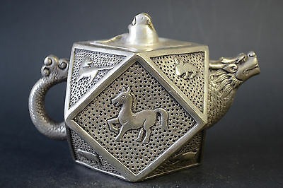Fine Vintage Collectible Noble Old Copper Silver Plate 12 Animal Relievo Teapot