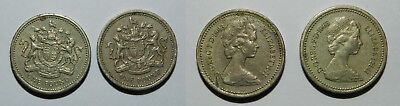 Great Britain : 2 X One Pound Coins 1983
