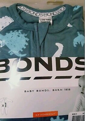 Bonds Size 1~Boys Dino Print Zippy Wondersuit~New In Pack!!~