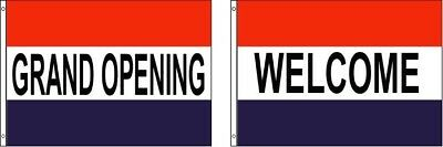 GRAND OPENING and WELCOME Polyester 3x5 Foot Flag Set Business Pennant Banner