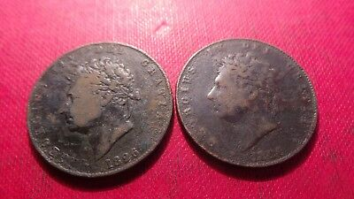 Great Britain, 2 x George IV, Half Penny Coins, both 1826.