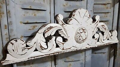 Shabby Carved Wood Pediment Antique French Architectural Crown Salvage Crest