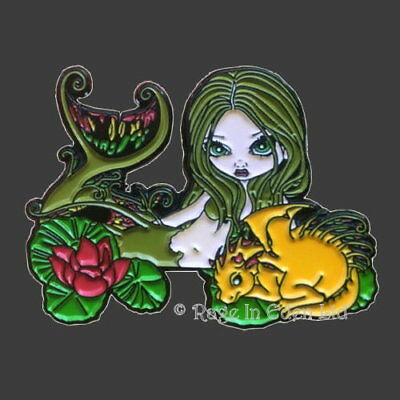 MERMAID WITH A GOLDEN DRAGON Strangeling Metal Pin Badge Jasmine Becket-Griffith