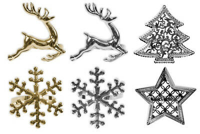 Napkin Rings Set of 6 Snowflake Reindeer Christmas Lunch Party Tableware